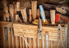 Old rusty woodworking tools. Stock Photos