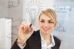 Young Businesswoman Writing Start Up Plan On Glass Screen With Pen - stock photo