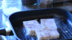 Frying of fish fillet, real time Stock Footage