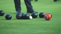 Lawn Bowling on Green Field Stock Footage