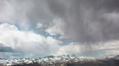 Time Lapse - Cloudscape Moving Over Snowy Mammoth Mountain Area California - stock footage