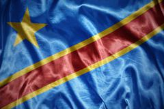 Shining democratic republic of the congo flag Stock Photos
