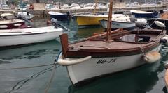 Boats in the harbour of Bar a coastal town in southern Montenegro Stock Footage