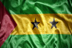 shining Sao Tome and Principe flag - stock photo