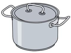 Stainless steel pot - stock illustration
