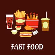 Fast food snacks and drinks set in flat style Piirros
