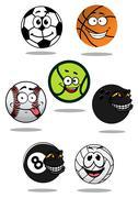 Cute cartoon sports balls mascot characters Stock Illustration
