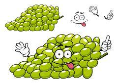 Cartoon green grape bunch character Stock Illustration
