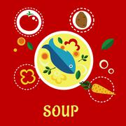 Cooking fish soup with sliced vegetables and herbs - stock illustration