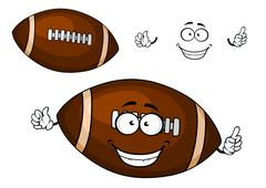 Cartoon brown rugby ball mascot character Stock Illustration