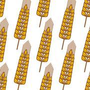 Cartoon ripe cereal ears seamless pattern - stock illustration