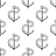 Retro ship anchors seamless pattern with twisted rope Stock Illustration
