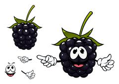 Funny ripe blackberry fruit character - stock illustration