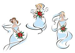 Beautiful brides in outline flowing lines Stock Illustration