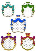 Colorful ceremonial royal mantles and crowns - stock illustration