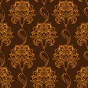 Stock Illustration of Oriental stylized paisley flourish seamless pattern