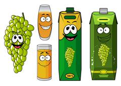Funny natural green grape fruit and juice cartoon characters Stock Illustration