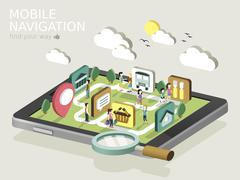 mobile navigation flat 3d isometric infographic - stock illustration