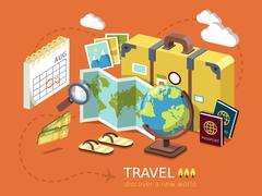travel essentials flat 3d isometric infographic - stock illustration