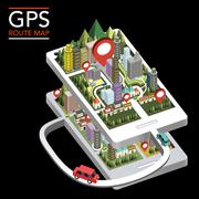 GPS route map flat 3d isometric infographic Stock Illustration