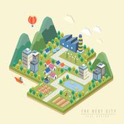 3d isometric infographic with lovely city Stock Illustration
