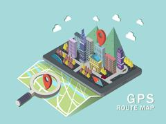GPS route map 3d isometric infographic Stock Illustration