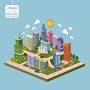 urban city concept 3d isometric infographic - stock illustration