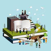Stock Illustration of graduation concept 3d isometric infographic