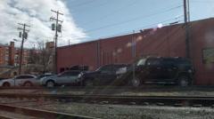 Hotel Exterior, Durango, Colorado Wild West with train tracks Stock Footage