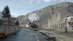 Steam Train Idling in Duranog, Colorado Stock Footage