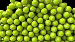 Tennis balls fill screen transition composite overlay Stock Footage