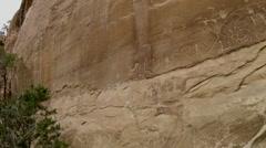 Mesa Verde National Park Petroglyphs, panning shot, Colorado - stock footage