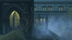 Medieval wall with portals at misty night Stock Footage