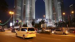 Petronas Twin Towers in Kuala Lumpur, Malaysia Stock Footage