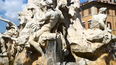 Piazza Navona fountain Stock Footage
