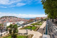 Lisbon rooftop from Sao Pedro de Alcantara viewpoint - Miradouro in Portugal Stock Photos