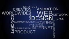 Web design tag word cloud animation - blue background. - stock footage