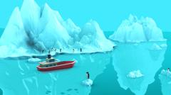Boat Floating On Water Surface Near Iceberg - stock footage