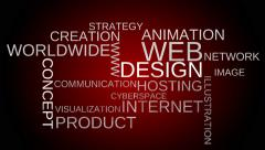 Web design tag word cloud animation - red background. Stock Footage