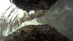 Water flowing from iron tube Stock Footage