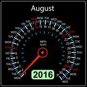 2016 year calendar speedometer car. August. Vector illustration. - stock illustration