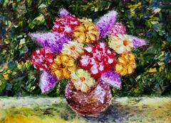 Vase flowers. Original oil painting. Modern Impressionism. - stock illustration