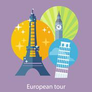 European Traveling Tour - stock illustration