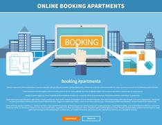 Online Booking Apartments Stock Illustration