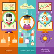Stock Illustration of Webinar, Distance Education and Improving Skills
