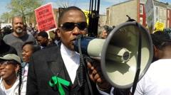 Malik Zulu Shabazz at Freddie Gray protest  Stock Footage