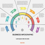 Infographic with text areas on seven positions Stock Illustration