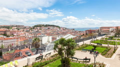 4K timelapse of Lisbon rooftop from Sao Pedro de Alcantara viewpoint - Miradouro Stock Footage