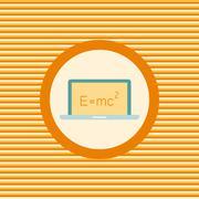Scientific formula on a laptop color flat icon - stock illustration
