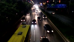 Shenzhen Baoan 107 National Highway Landscape at night, China Stock Footage